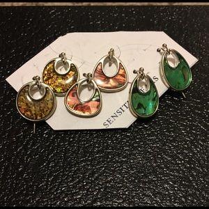 3 pair of wire earrings